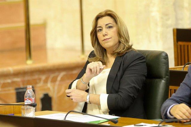 Susana Díaz en la sesión de control al gobierno del Parlamento andaluz