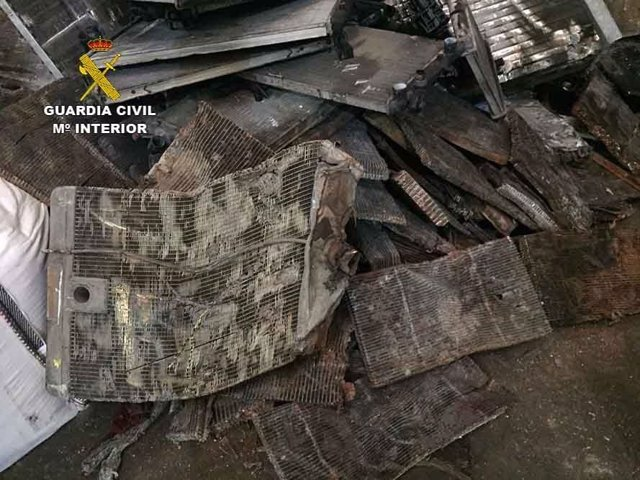 Radiadores de cobre intervenidos por la Guardia Civil