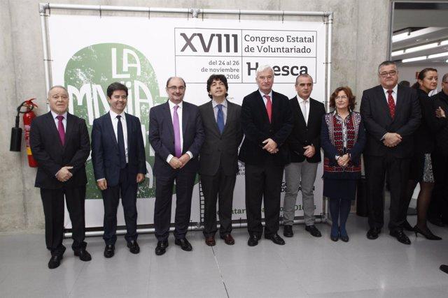 Garcés y Lambán, junto a otras autoridades hoy en Huesca