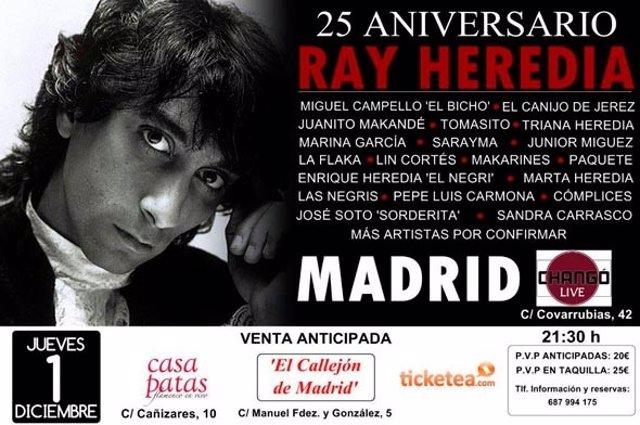 Cartel concierto en Madrid homenaje a Ray Heredia