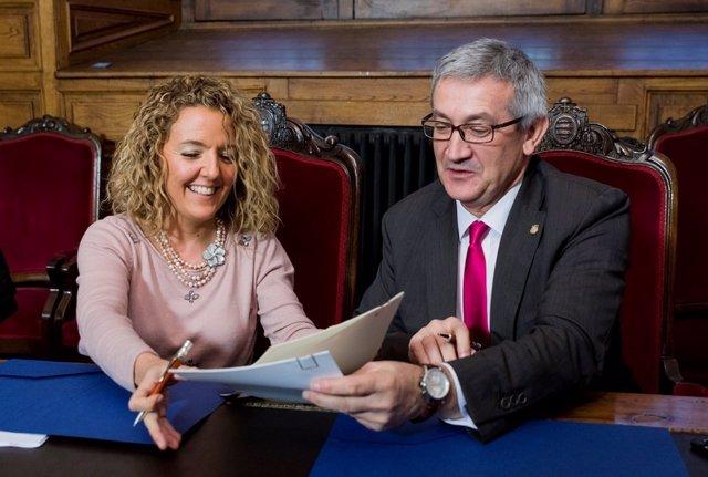 Firma entre Hunosa y la Universidad de Oviedo