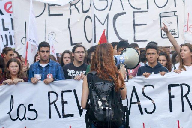 Protesta de estudiantes contra la Lomce en Sevilla