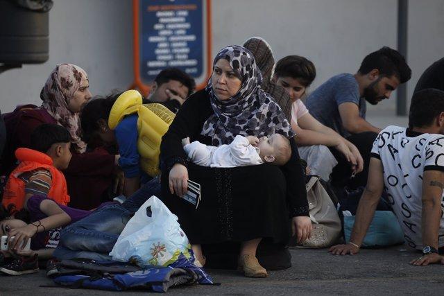 Una refugiada siria en la isla griega de Kos