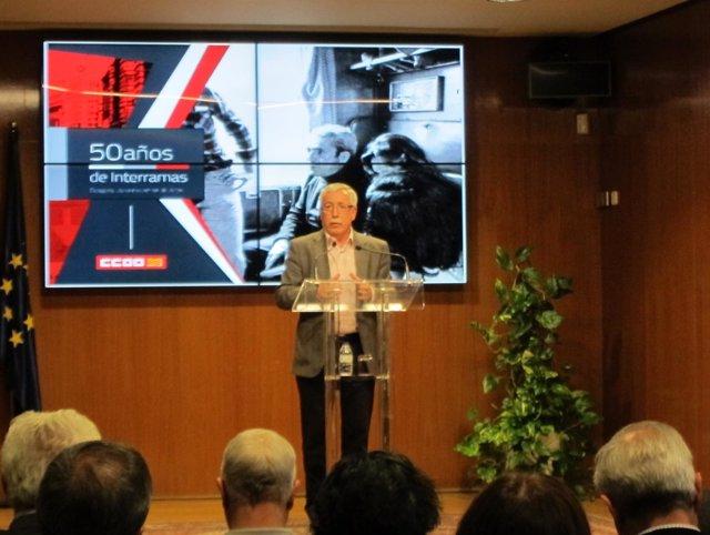 Toxo (CC.OO.) en su intervención hoy en el Palacio de la Aljafería