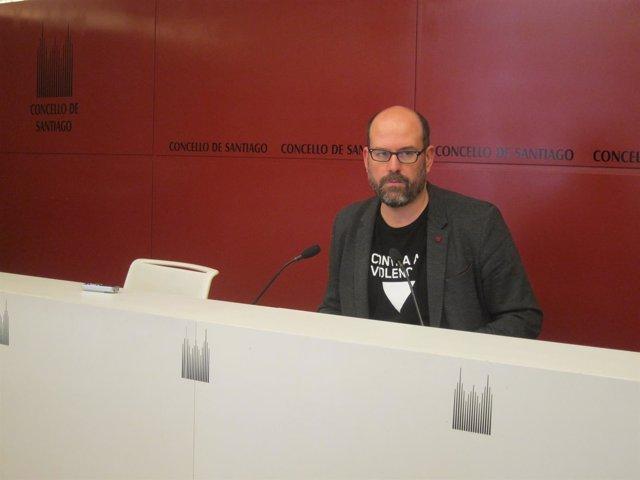El alcalde de Santiago, Martiño Noriega, en comparecencia de prensa
