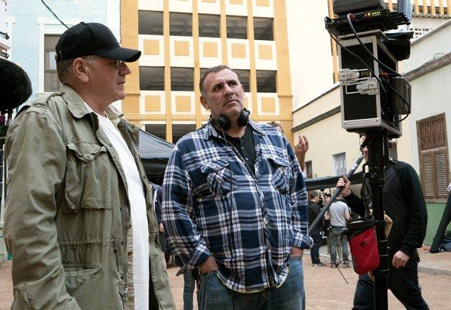 Robert Zemeckis y Graham King en el rodaje de Aliados