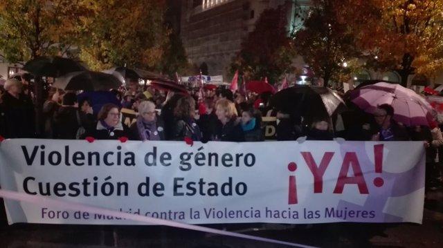 Manifestación contra la violencia de género en Madrid