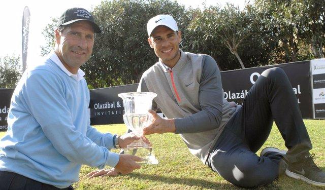 Rafa Nadal y José María Olazábal en un torneo benéfico de golf