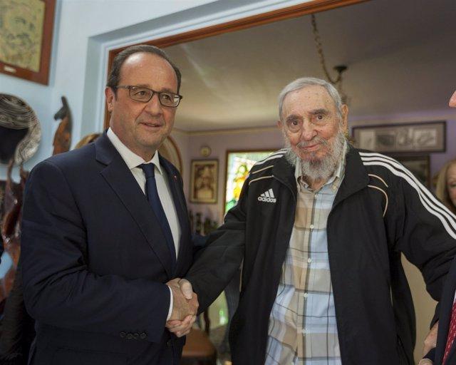 François Hollande y Fidel Castro