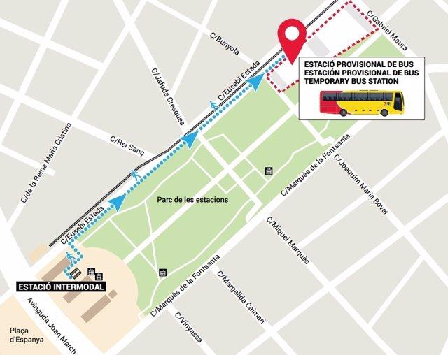Cambio provisional de ubicación de la estación de autobuses TIB