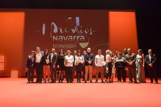 Galardonados en los premios Navarra Televisión.