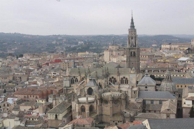 Toledo, Vista Aérea, Panorámica, Edificios, Catedral, Ciudad