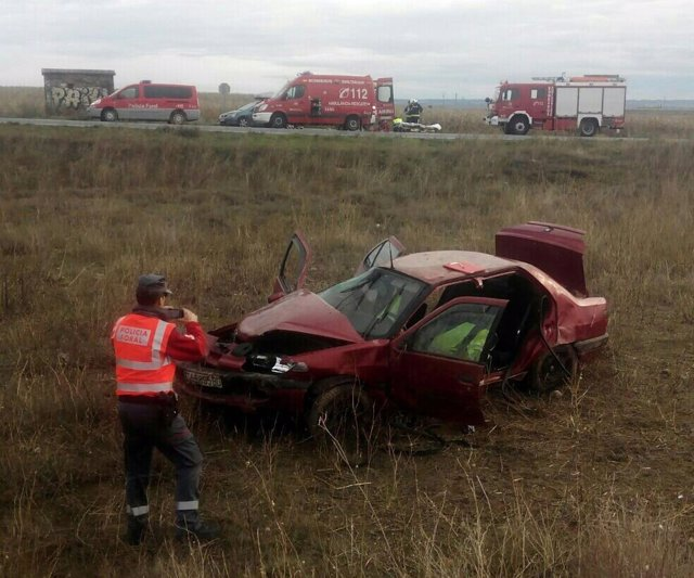 Un herido grave en un accidente de tráfico en Caparroso