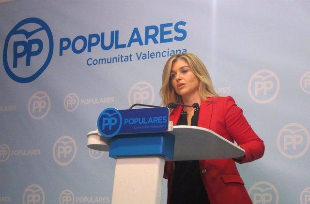 La coordinadora general del PPCV, Eva Ortiz, durante la rueda de prensa