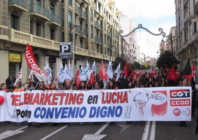 Manifestación del sector de telemarketing