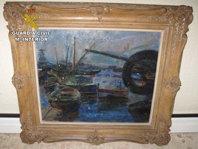 El cuadro 'Barca de pescadores atracada en el puerto' recuperado