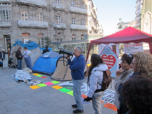 Acampada social en Vigo