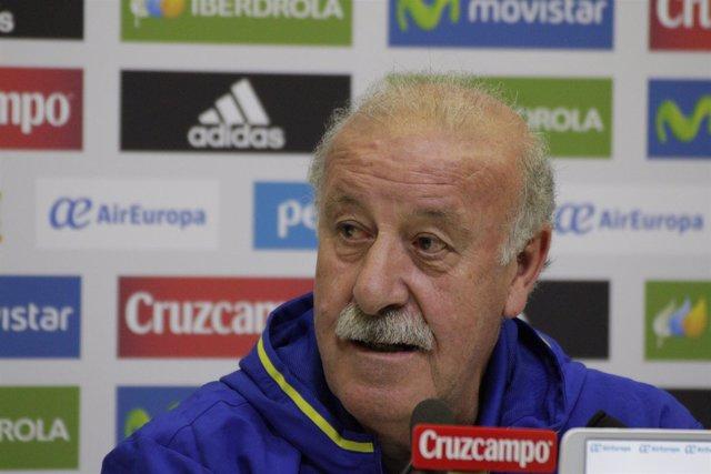 Vicente del Bosque en rueda de prensa en la ciudad deportiva de Las Rozas