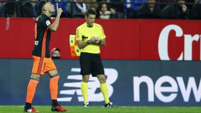 Munir celebra un gol del Valencia