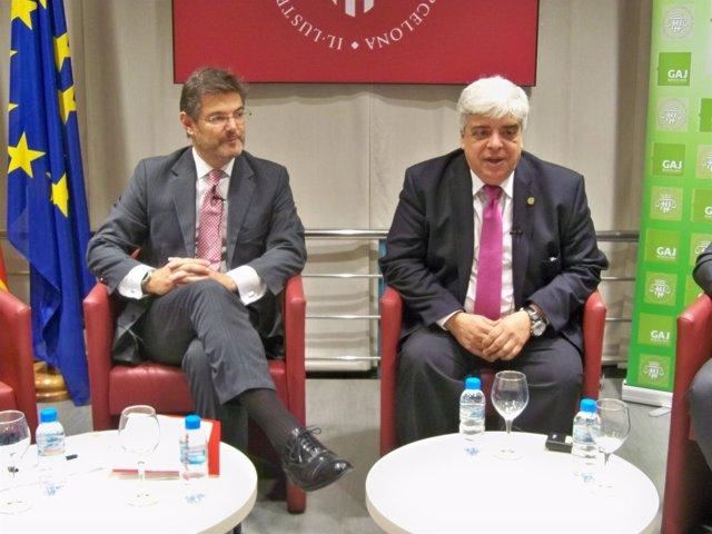El ministro Rafael Catalá y el decano del Icab Oriol Rusca