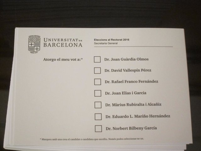 Papeletas de los candidatos de las elecciones de la UB