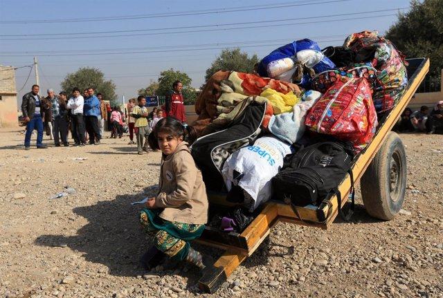 Desplazados por la ofensiva en Mosul