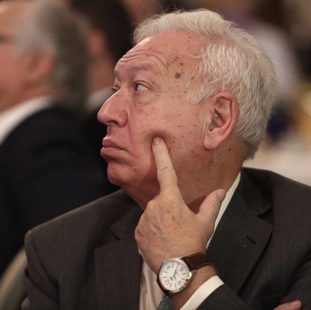 El exministro Margallo en un desayuno informativo
