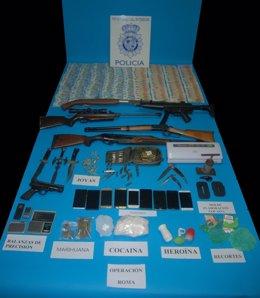 Material intervenido en la operación de Las Palmeras con 13 detenidos