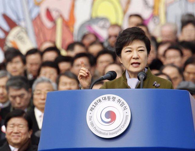 Park Geun Hye, en su discurso de investidura