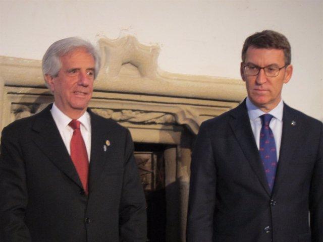 El presidente de Uruguay y el presidente de la Xunta en un desayuno