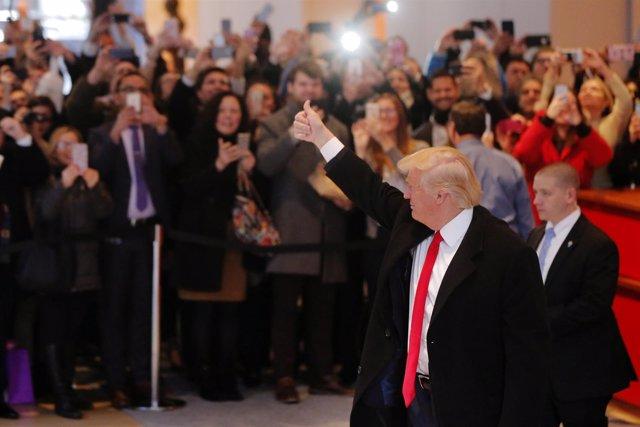 Donald Trump, a su llegada a la sede de 'The New York Times'