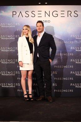 Jennifer Lawrence y Chris Pratt presentan en España la película Passengers