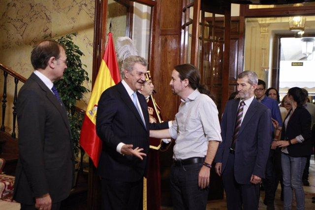 Pablo Iglesias con Posada