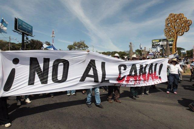 Manifestación contra el Gran Canal Interoceánico de Panamá