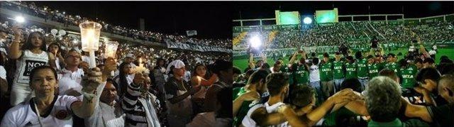 Medellín y Chapecó rinden homenaje a los fallecidos del accidente aéreo