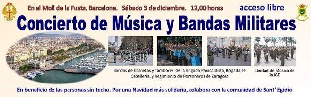 Anuncio del Concierto de Música y Bandas Militares en el puerto de Barcelona
