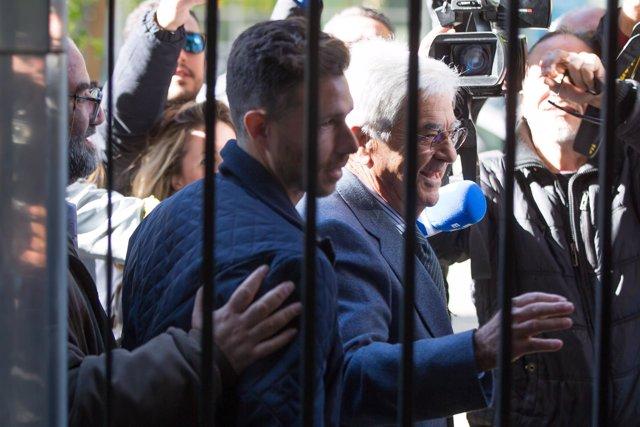 El delantero del Betis Rubén Castro a su llegada a los juzgados