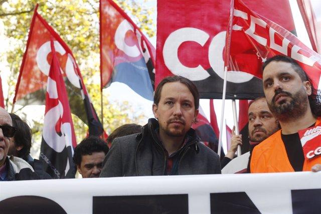 Pablo Iglesias en la manifestación por Contact Center