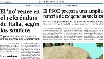 Las portadas de los periódicos de hoy, lunes 5 de diciembre de 2016
