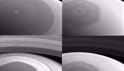 El Hexágono de Saturno, sobrevolado por la nave Cassini