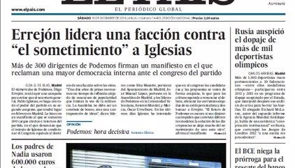 Las portadas de los periódicos de hoy, viernes 10 de diciembre de 2016