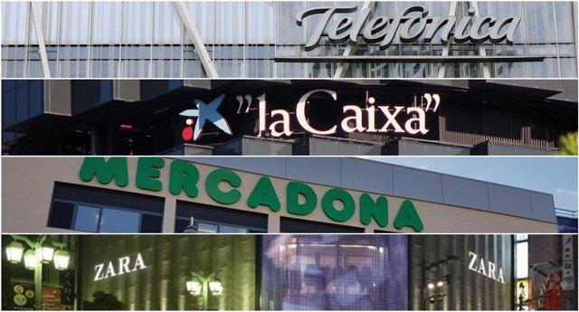 Telefónica, La Caixa, El Corte Inglés, Inditex y Mercadona ...
