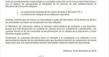 ¡Ojo! Este comunicado sobre suspensión de clases es falso y GVA Educación...