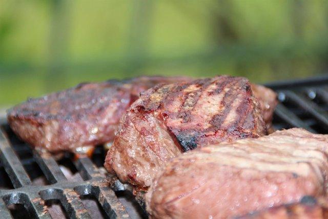 Chuleta, carne, barbacoa