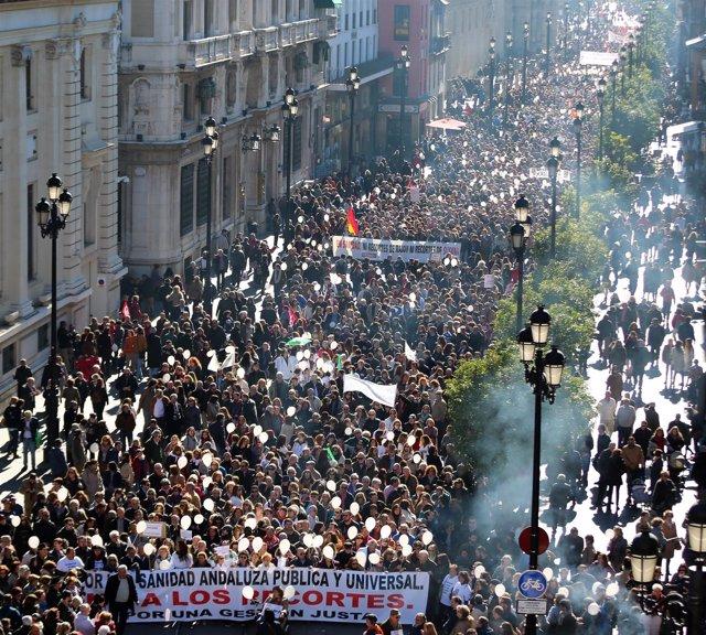 Manifestación por una sanidad pública de calidad en Sevilla