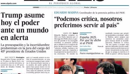 Las portadas de los periódicos de hoy, viernes 20 de enero de 2017