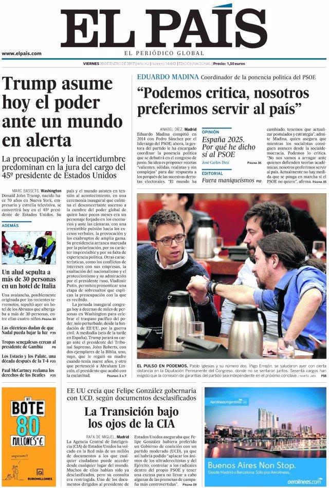 Las portadas de los peri dicos de hoy viernes 20 de enero for Noticias del mundo del espectaculo hoy