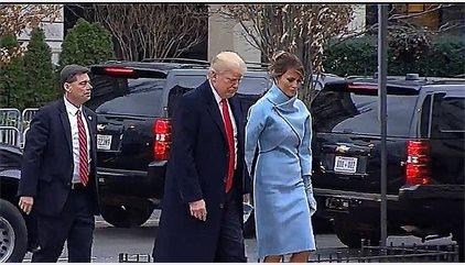 Trump llega a la iglesia de San Juan en el comienzo de su día inaugural