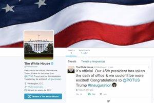 Trump desembarca en el Twitter oficial de la Casa Blanca y de presidente de EEUU