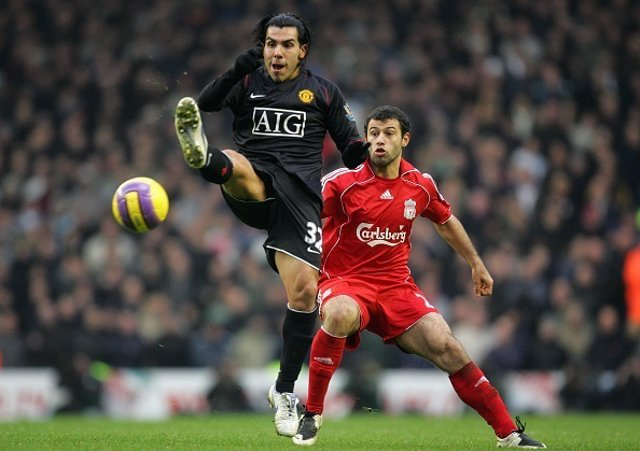 Carlos Tevez of Manchester United and Javier Mascherano of LiverpoolPicture Matt